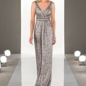 Sorella Vita Platinum Sequin V Neck Gown Dress